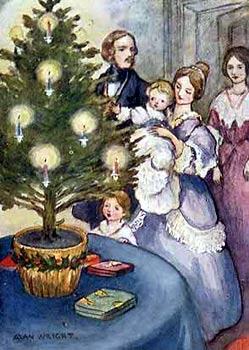 Рождество в семье Королевы Виктории и принца Альберта. Старинное изображение